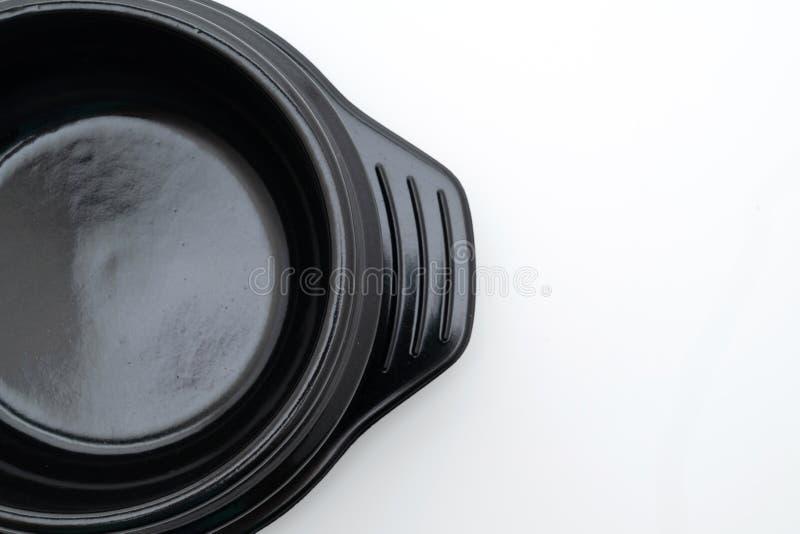 cuenco negro de la sopa vacía (pote de arcilla) en estilo coreano imagen de archivo