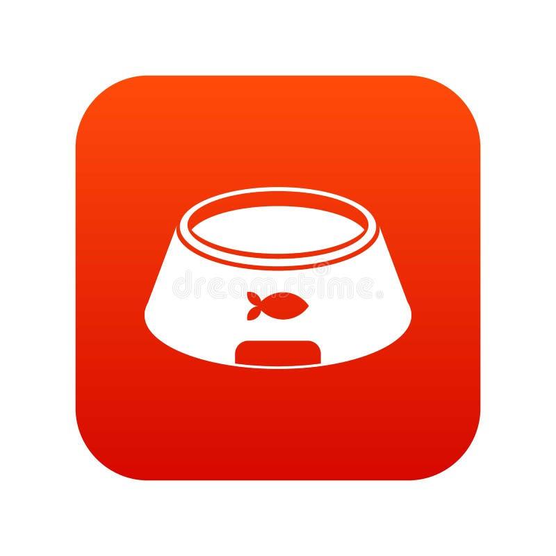 Cuenco para el rojo digital del icono animal ilustración del vector