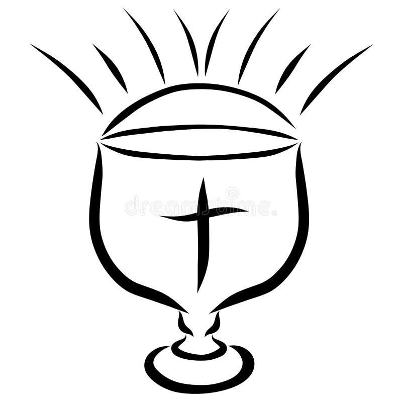 Cuenco para la eucaristía, la cruz y la resplandor libre illustration