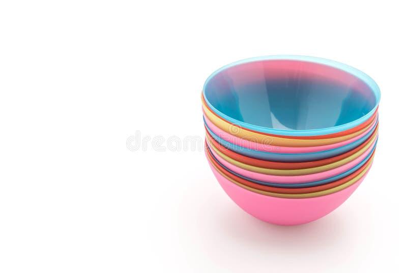 Cuenco plástico colorido fotos de archivo