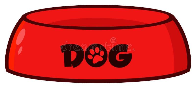 Cuenco rojo del perro que dibuja diseño simple libre illustration