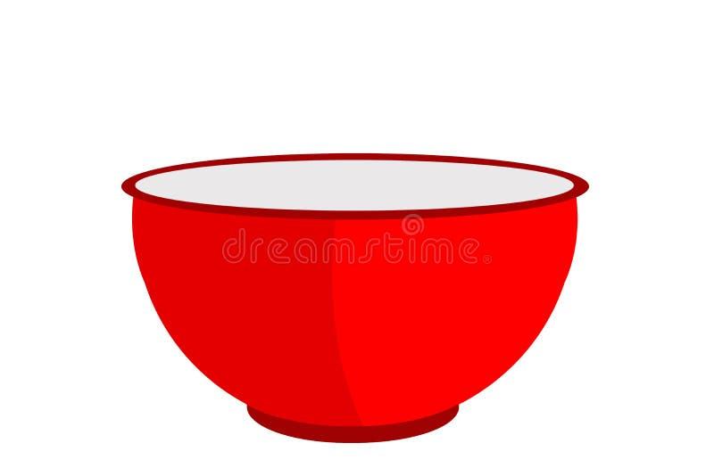Cuenco rojo en el fondo blanco ilustración del vector