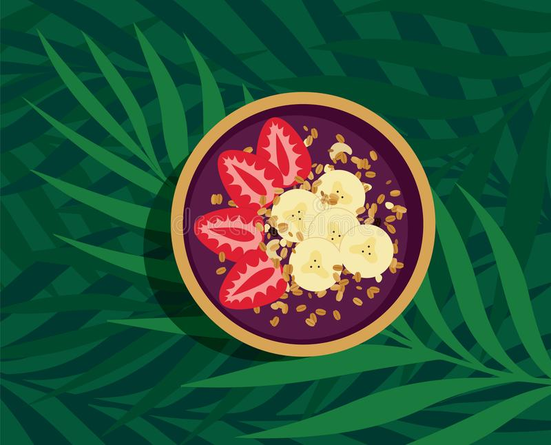 Cuenco tropical de Acai de la energía libre illustration