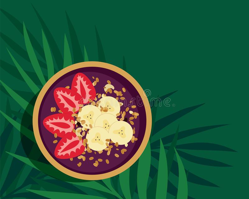 Cuenco tropical del Smoothie de Acai ilustración del vector