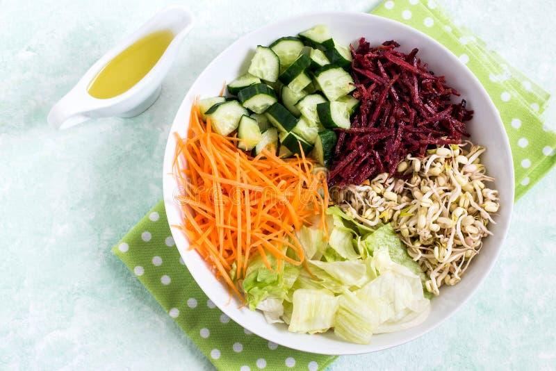 Cuenco vegetariano del almuerzo con las habas de mung brotadas y el vegetab fresco foto de archivo