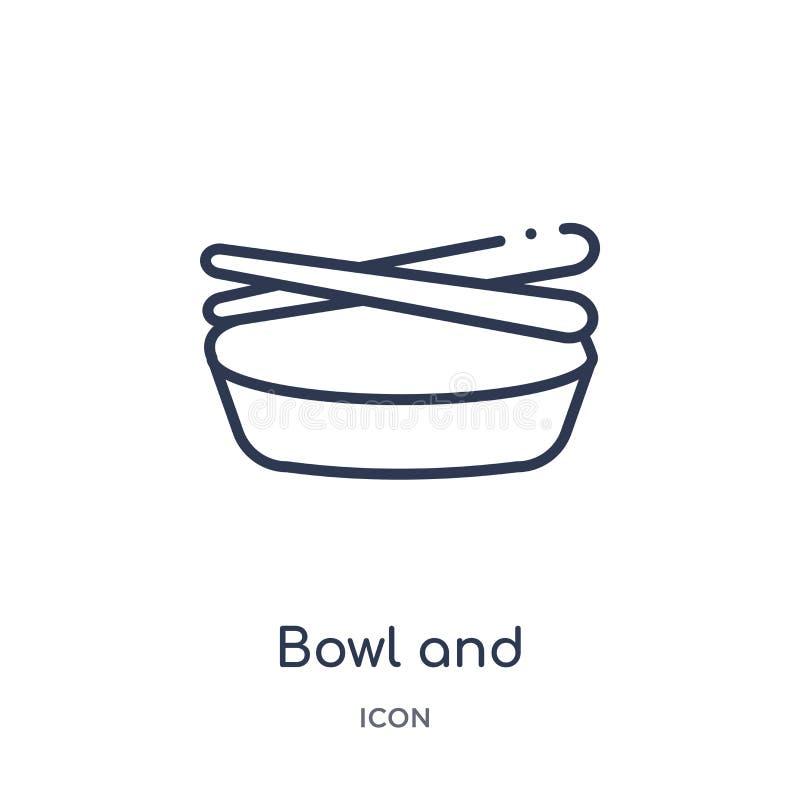 cuenco y palillos del icono de Japón de la colección del esquema de las herramientas y de los utensilios La línea fina cuenco y p libre illustration