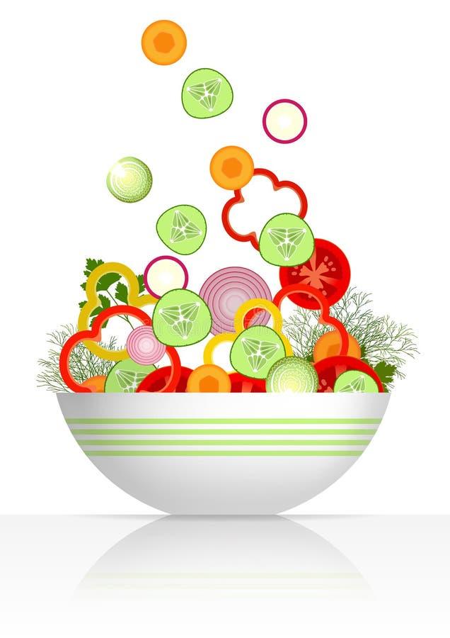 Cuenco y verduras frescas ilustración del vector