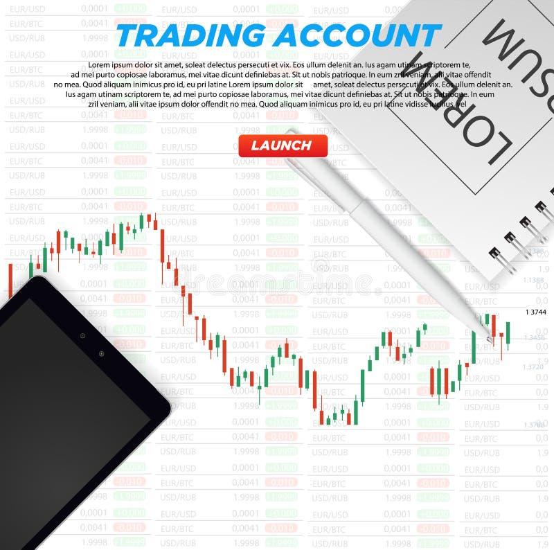 Cuenta comercial de la plataforma Análisis e inversión de negocio de UI Comercio del mercado Opción binaria Fabricación del diner libre illustration