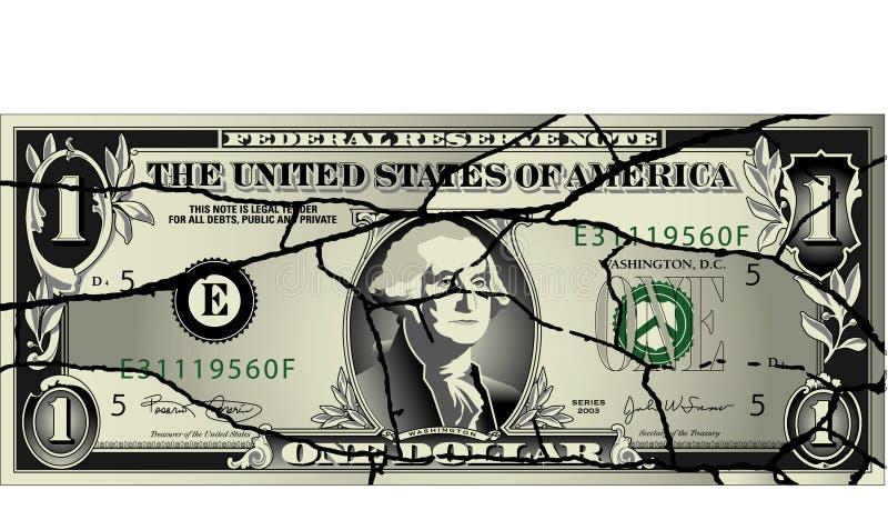 Cuenta de dólar agrietada ilustración del vector