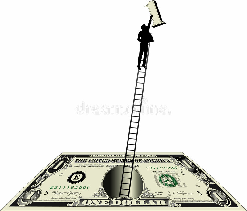 Cuenta de dólar con el hombre en escala ilustración del vector
