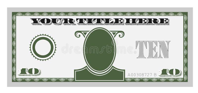 Cuenta de dinero diez stock de ilustración
