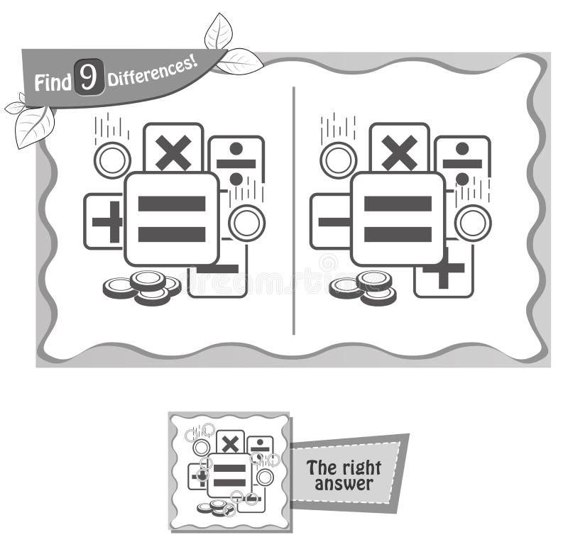 Cuenta de la calculadora del juego de las diferencias del hallazgo 9 stock de ilustración