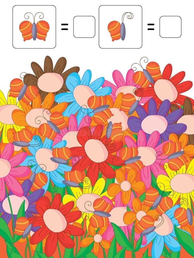 Cuenta de las flores coloridas de las mariposas ilustración del vector