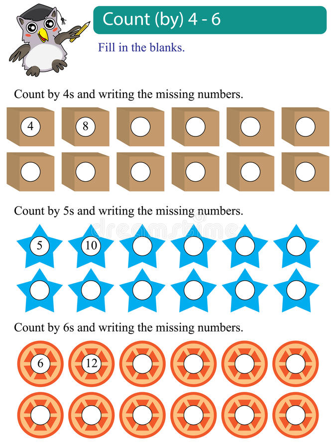 Cuenta de los múltiplos de la matemáticas por 4 - 6 stock de ilustración