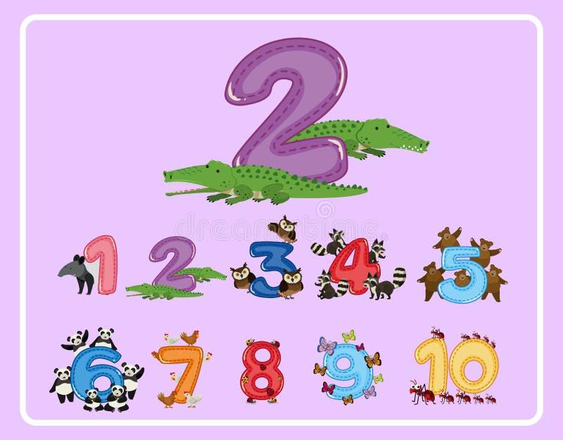 Cuenta de número y de otros números con los animales stock de ilustración