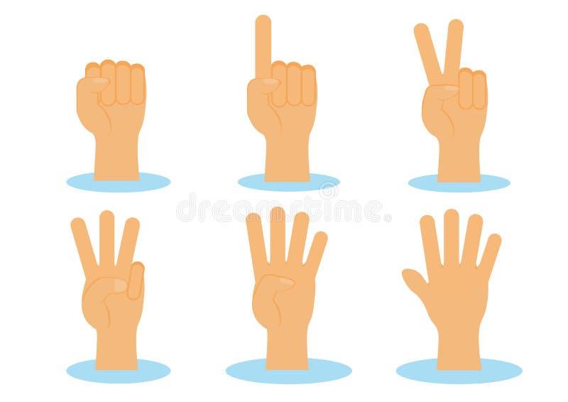 Cuenta de vector del sistema de las manos stock de ilustración