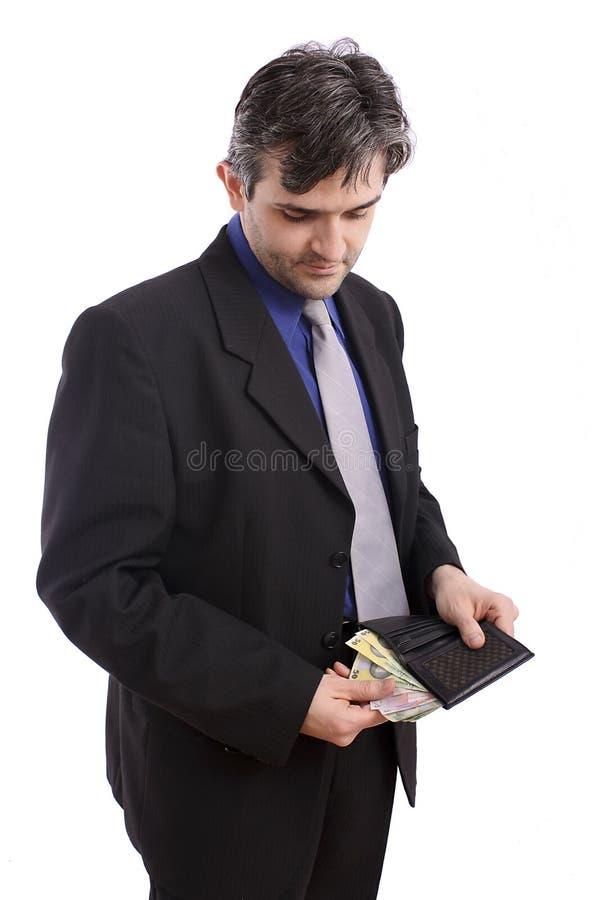Cuenta del hombre de negocios su sueldo fotos de archivo
