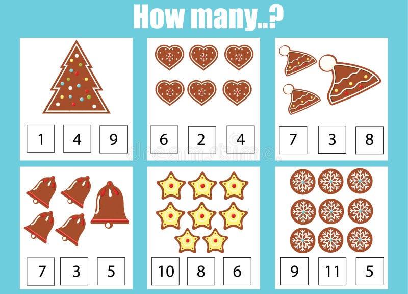 Cuenta del juego educativo de los niños, actividad de los niños Cuántos objetos encargan Tema del Año Nuevo y de la Navidad libre illustration