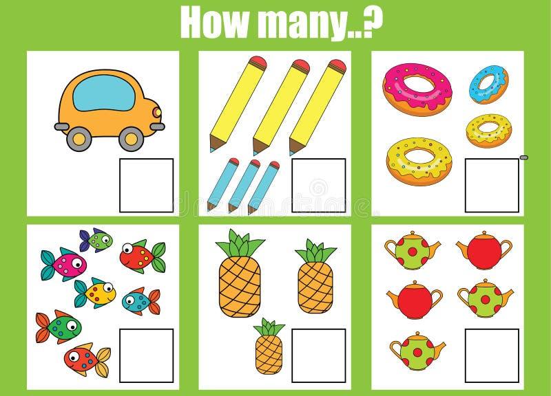 Cuenta del juego educativo de los niños, hoja de trabajo de la actividad de los niños Cuántos objetos encargan stock de ilustración