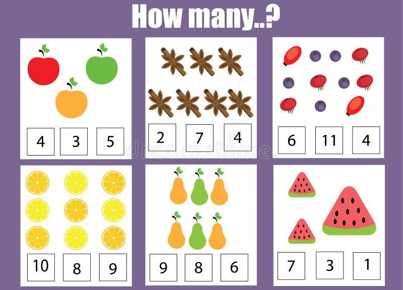 Cuenta del juego educativo de los niños, hoja de trabajo de la actividad de los niños Cuántos objetos encargan ilustración del vector
