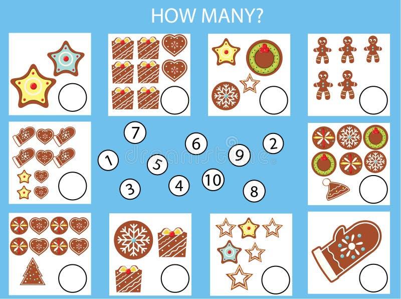 Cuenta del juego educativo de los niños, hoja de trabajo de la actividad de los niños Cuántos objetos encargan La Navidad, tema d stock de ilustración