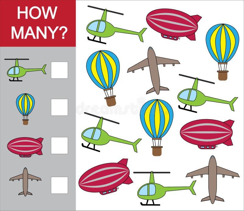 Cuenta del juego educativo para los niños Cuente cuánto objeto del transporte aéreo Ilustración del vector stock de ilustración