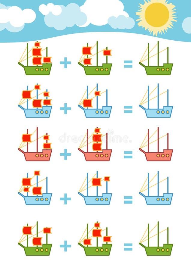 Cuenta del juego Hojas de trabajo de la adición ilustración del vector