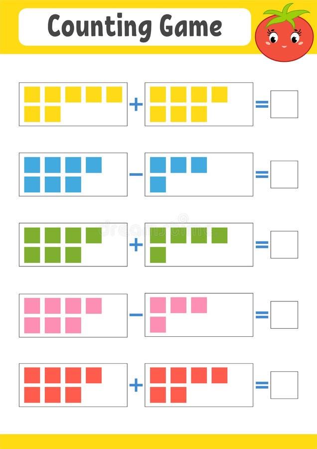 Cuenta del juego para los niños Adición y substracción Hoja de trabajo de la actividad Un ejemplo plano simple del vector con un  libre illustration