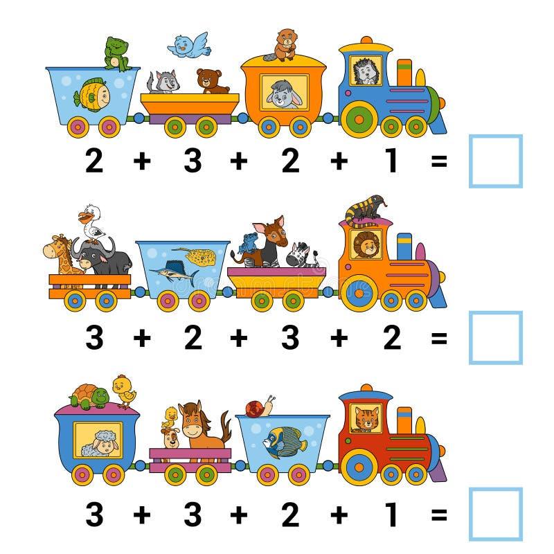 Cuenta del juego para los niños Cuente los animales en el tren libre illustration