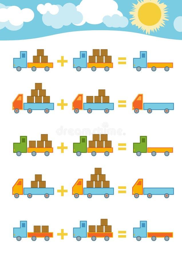 Cuenta del juego para los niños Hojas de trabajo de la adición ilustración del vector