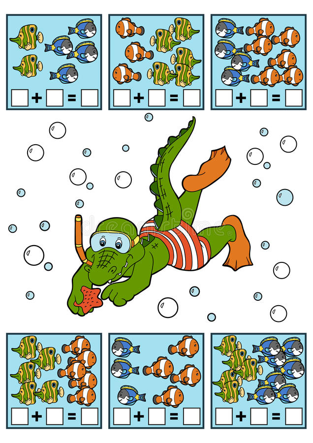 Cuenta del juego para los niños Hojas de trabajo de la adición stock de ilustración