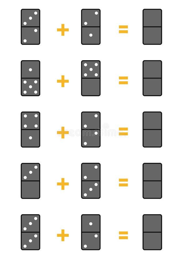 Cuenta del juego para los niños Hojas de trabajo de la adición con dominó libre illustration