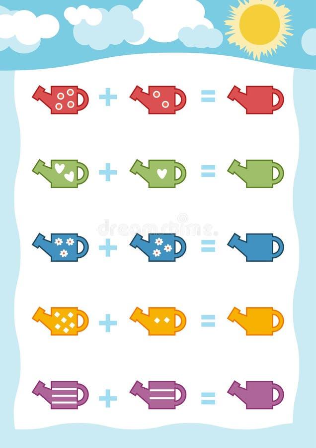 Cuenta del juego para los niños Hojas de trabajo de la adición con la regadera stock de ilustración