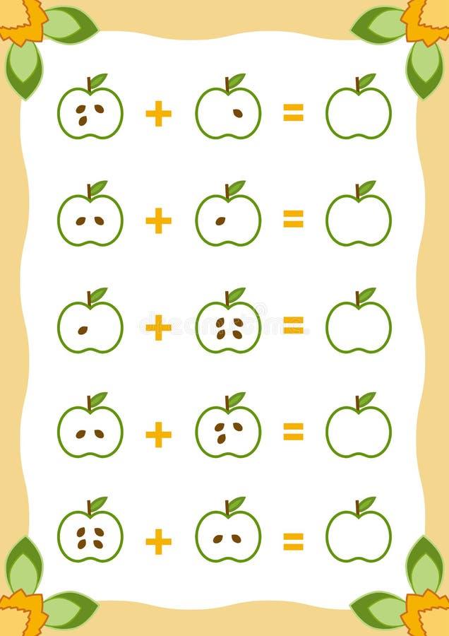 Cuenta del juego para los niños Hojas de trabajo de la adición con las manzanas ilustración del vector