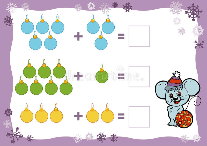 Cuenta del juego para los niños Hojas de trabajo de la adición Juguetes de la Navidad ilustración del vector