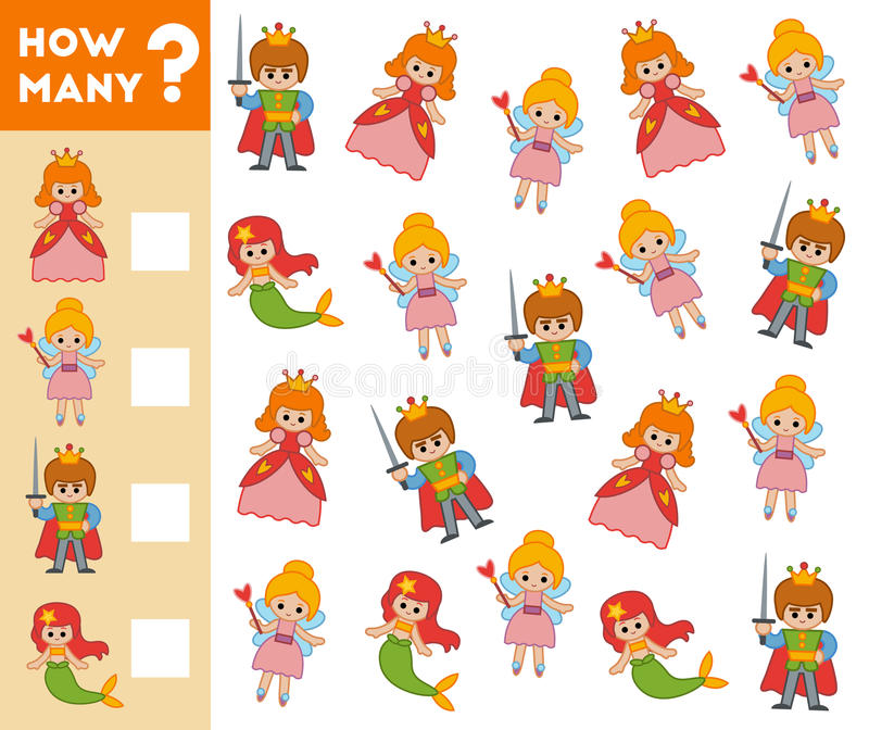 Cuenta del juego para los niños preescolares caracteres del cuento de hadas libre illustration