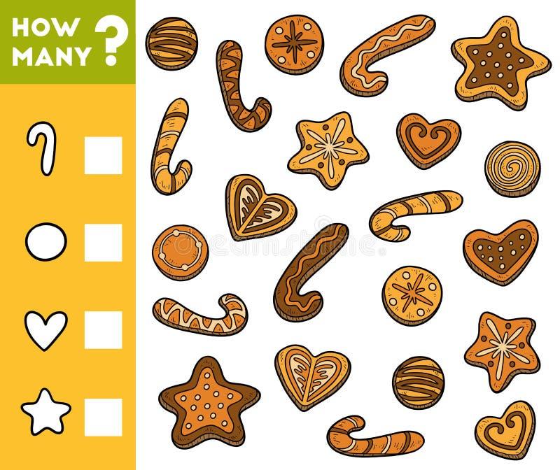 Cuenta del juego para los niños preescolares Cuente cuántas galletas libre illustration