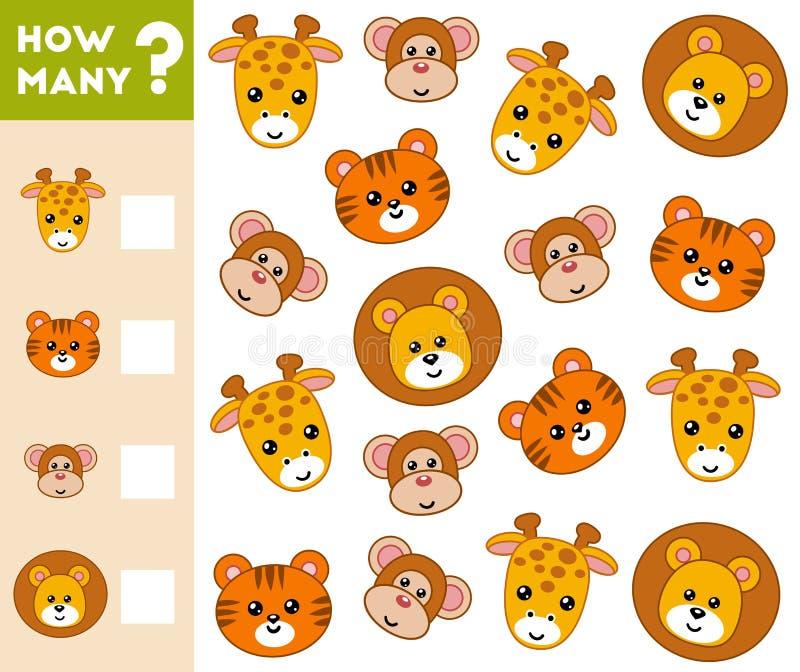 Cuenta del juego para los niños preescolares Cuente cuántos animales ilustración del vector
