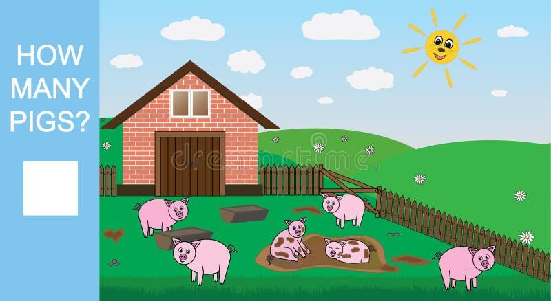 Cuenta del juego para los niños preescolares Cuente cuántos cerdos, juego matemático educativo Ilustración del vector libre illustration