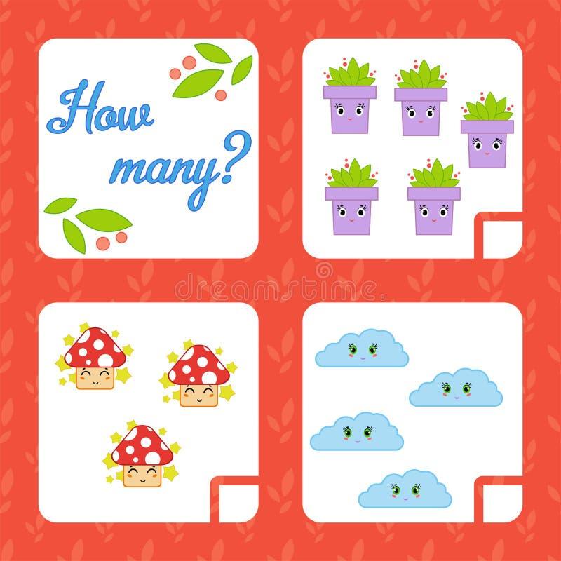 Cuenta del juego para los niños preescolares para el desarrollo de capacidades matemáticas Cuente el número de objetos en la imag stock de ilustración
