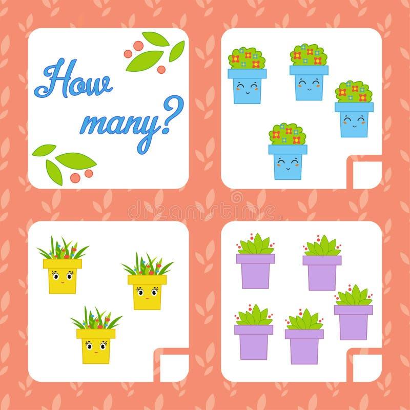 Cuenta del juego para los niños preescolares para el desarrollo de capacidades matemáticas Cuente el número de objetos en la imag libre illustration