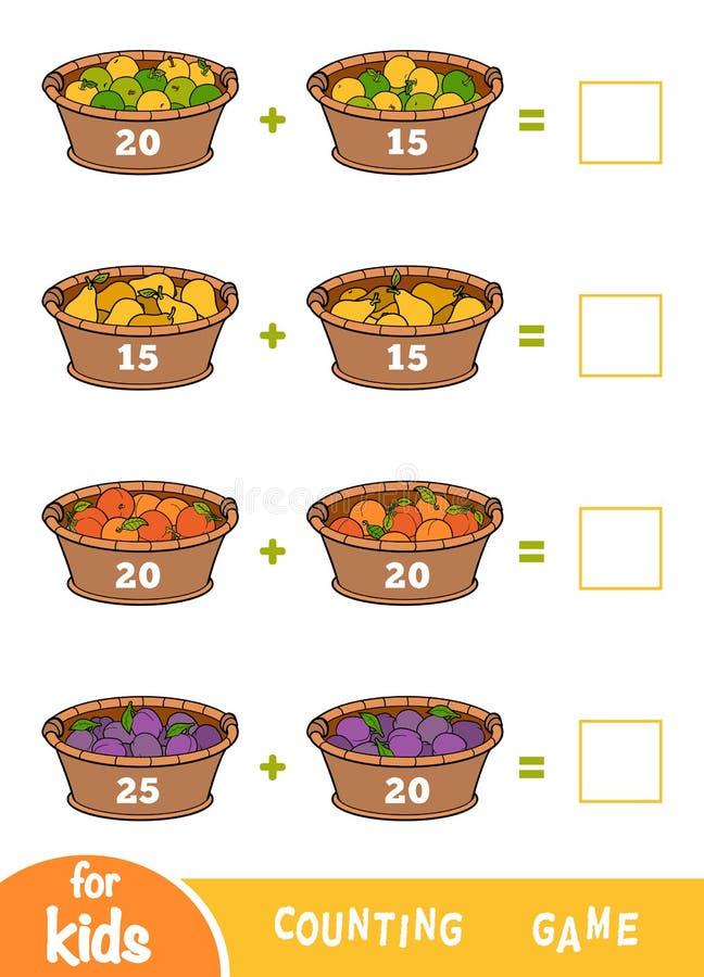 Cuenta del juego para los niños preescolares Hojas de trabajo de la adición Cestas de fruta libre illustration