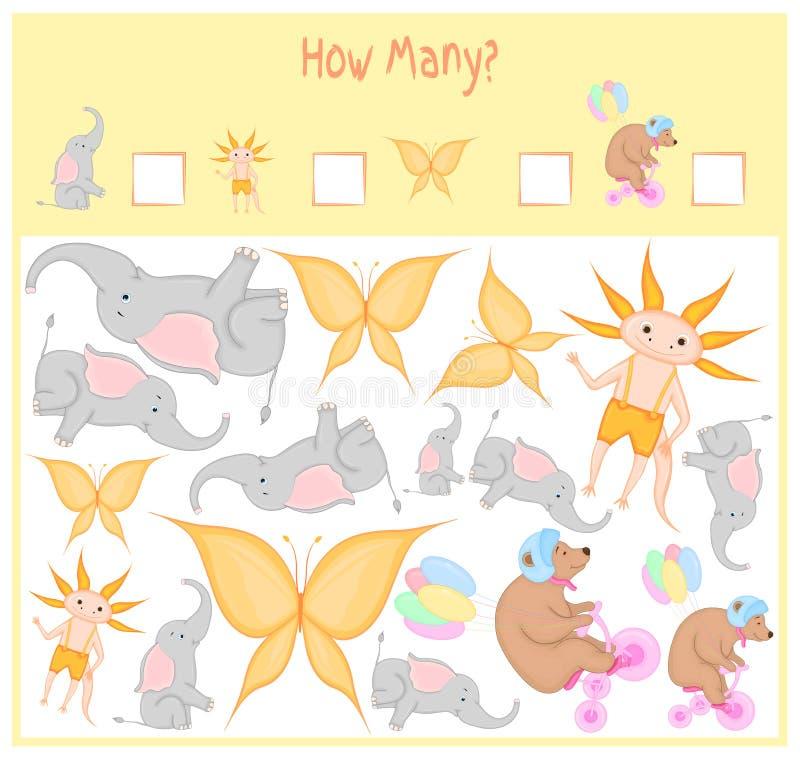 Cuenta del juego para los niños preescolares Un juego educativo matemático Cuente cuántos artículos y escriba a resultado salvaje ilustración del vector
