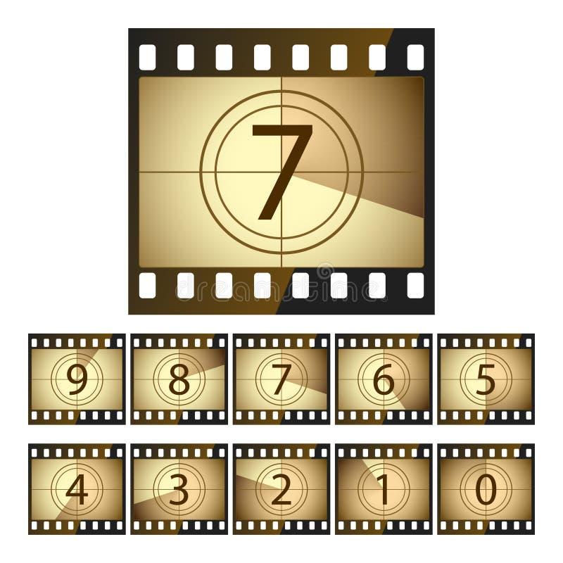Cuenta descendiente de la película. Vector. stock de ilustración