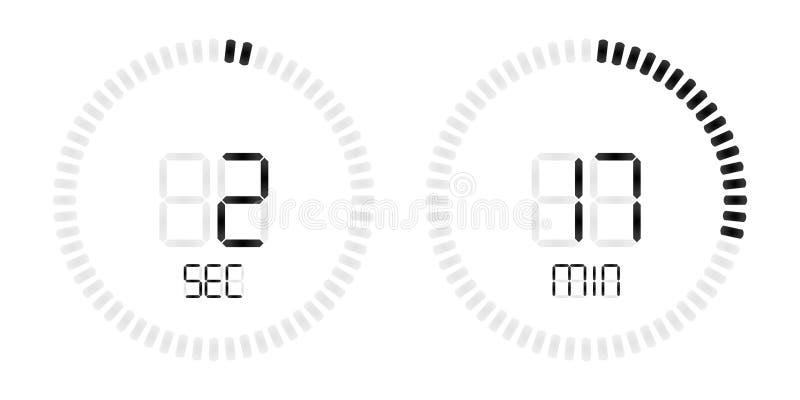 Cuenta descendiente digital del tiempo del vector del contador de tiempo del cronómetro stock de ilustración