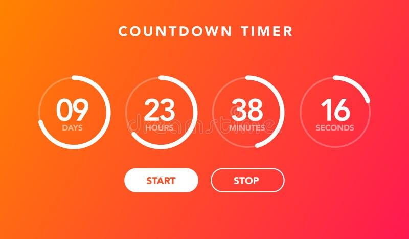 Cuenta descendiente plana del contador de tiempo del reloj digital del ejemplo del vector para el fondo del sitio web libre illustration