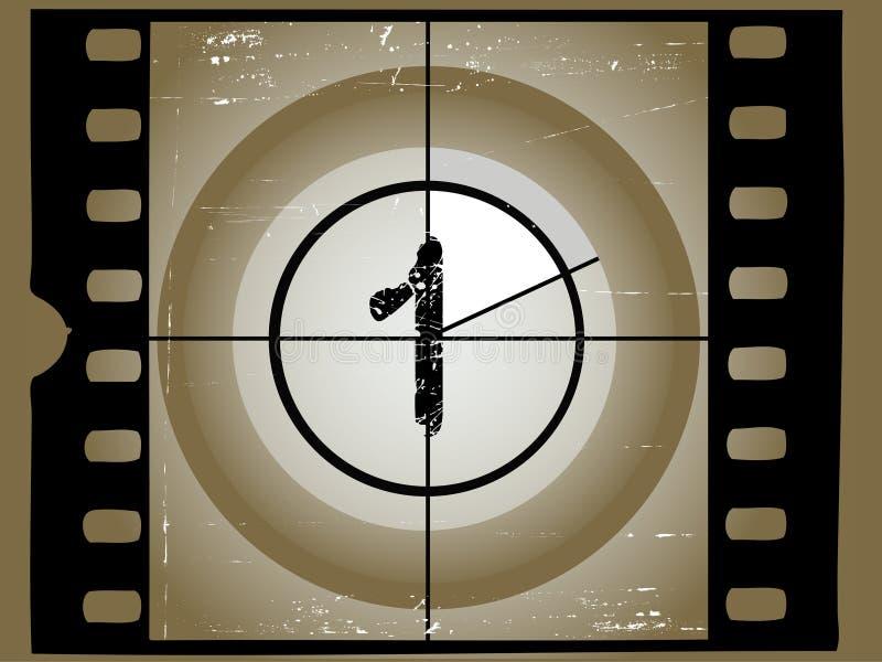 Cuenta descendiente rasguñada de la película - 1 ilustración del vector