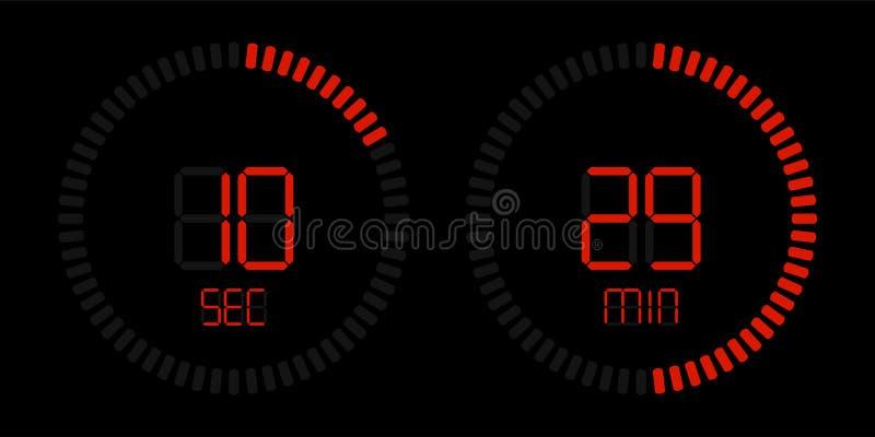 Cuenta descendiente roja digital del vector del contador de tiempo del cronómetro ilustración del vector
