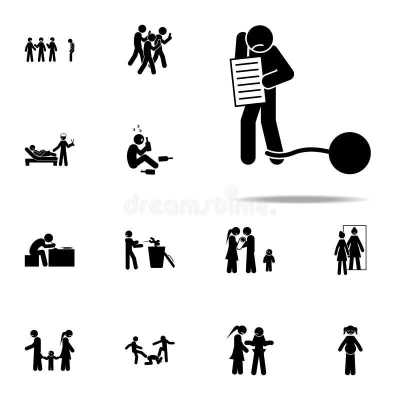 cuenta, deuda, icono financiero Sistema universal de los iconos sociales de los problemas de la juventud para la web y el móvil libre illustration