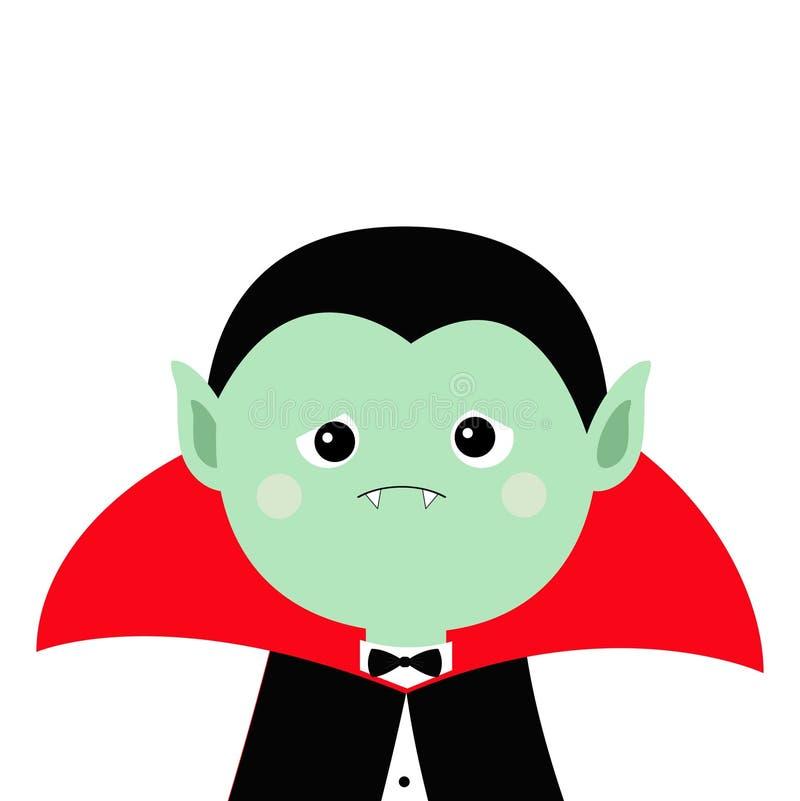 Cuenta Drácula headwearing el cabo negro y rojo Carácter lindo del vampiro de la historieta Cara triste verde con los colmillos V ilustración del vector